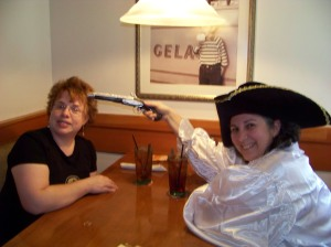 The dread pirate Bego, and her not so dreadful hostage Linda