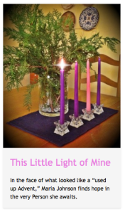 Click on the candles to read the piece at CatholicMom.com